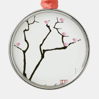 sakura blossom and pink birds, tony fernandes metal ornament