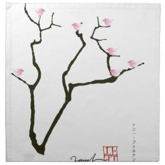 sakura blossom and pink birds, tony fernandes napkin