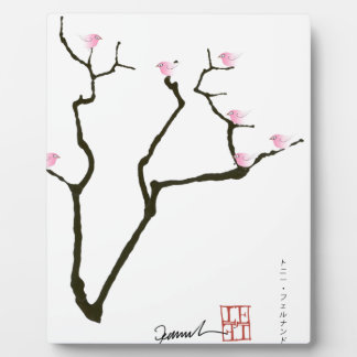 sakura blossom and pink birds, tony fernandes plaque