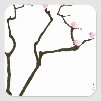 sakura blossom and pink birds, tony fernandes square sticker