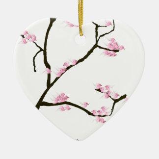 sakura blossom with pink birds, tony fernandes ceramic ornament