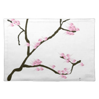 sakura blossom with pink birds, tony fernandes placemat