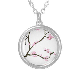 sakura blossom with pink birds, tony fernandes silver plated necklace