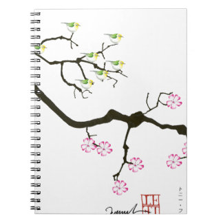 sakura blossoms with birds, tony fernandes notebooks