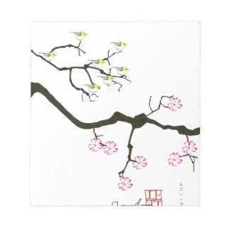 sakura blossoms with birds, tony fernandes notepad