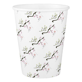sakura blossoms with birds, tony fernandes paper cup