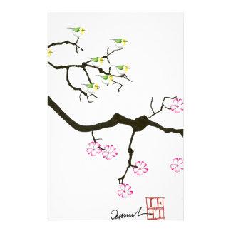 sakura blossoms with birds, tony fernandes stationery