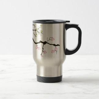 sakura blossoms with birds, tony fernandes travel mug