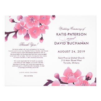 Sakura cherry blossom flower wedding flyer