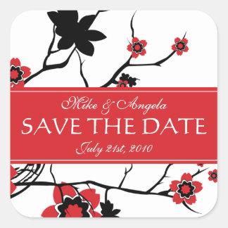 Sakura Cherry Blossom Modern Wedding Save the Date Sticker