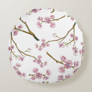 Sakura Cherry Blossom Pattern Round Cushion