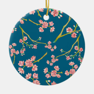 Sakura Cherry Blossom Print on Blue Ceramic Ornament