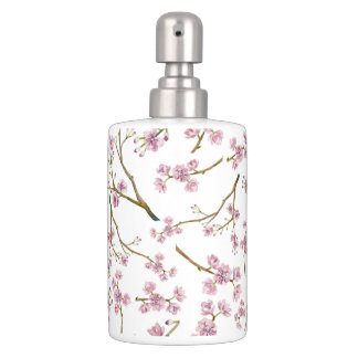 Sakura Cherry Blossom Print Soap Dispenser And Toothbrush Holder