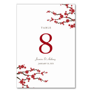 Sakura Cherry Blossoms Asian Wedding Table Number