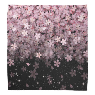 Sakura Cherry Blossoms Pink & Black Flowers Bandana