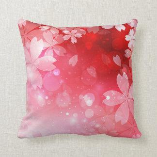 Sakura Cherry Blossoms Red Pink White Flowers Throw Pillow
