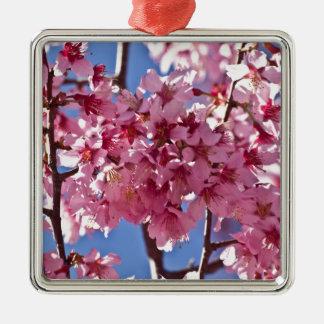 Sakura Cherry Blossoms Red Stars Silver-Colored Square Decoration