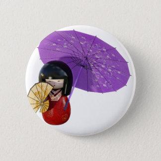 Sakura Doll with Umbrella 6 Cm Round Badge