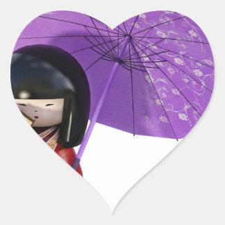 Sakura Doll with Umbrella Heart Sticker
