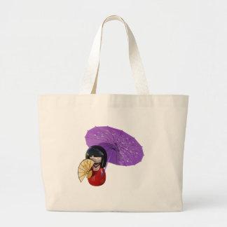 Sakura Doll with Umbrella Large Tote Bag