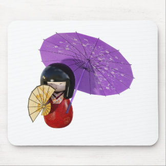 Sakura Doll with Umbrella Mouse Pad