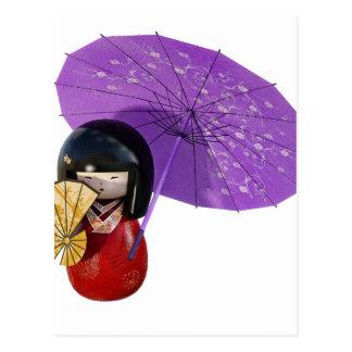 Sakura Doll with Umbrella Postcard