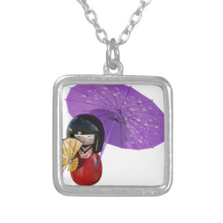 Sakura Doll with Umbrella Silver Plated Necklace