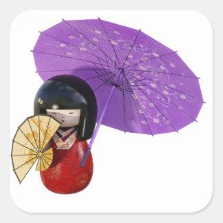Sakura Doll with Umbrella Square Sticker