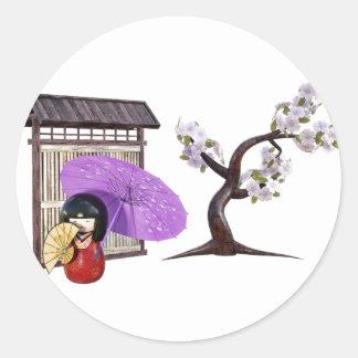 Sakura Doll with Wall and Cherry Tree Classic Round Sticker