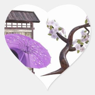 Sakura Doll with Wall and Cherry Tree Heart Sticker