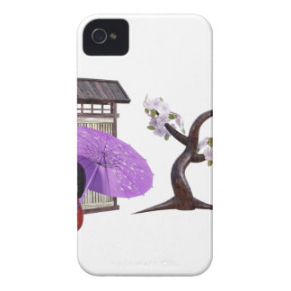 Sakura Doll with Wall and Cherry Tree iPhone 4 Case-Mate Case