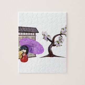 Sakura Doll with Wall and Cherry Tree Jigsaw Puzzle