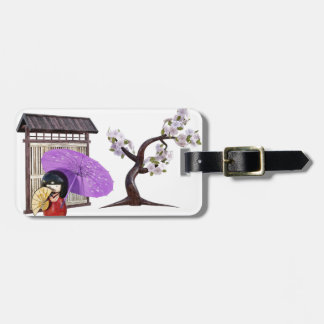 Sakura Doll with Wall and Cherry Tree Luggage Tag