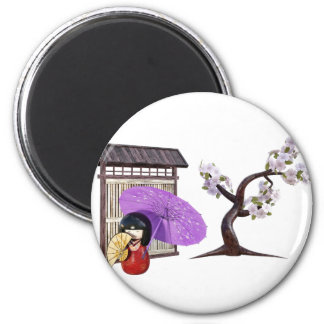 Sakura Doll with Wall and Cherry Tree Magnet