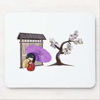 Sakura Doll with Wall and Cherry Tree Mouse Pad
