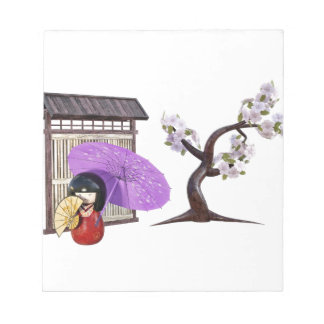 Sakura Doll with Wall and Cherry Tree Notepad
