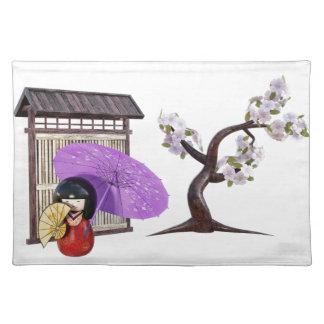 Sakura Doll with Wall and Cherry Tree Placemat