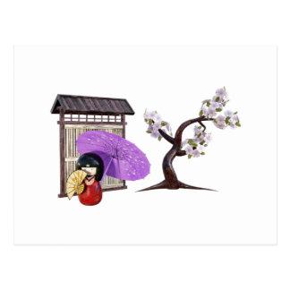 Sakura Doll with Wall and Cherry Tree Postcard