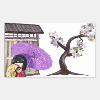 Sakura Doll with Wall and Cherry Tree Rectangular Sticker