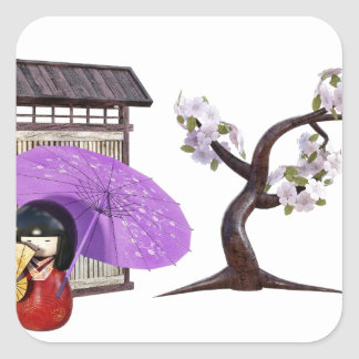 Sakura Doll with Wall and Cherry Tree Square Sticker