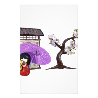 Sakura Doll with Wall and Cherry Tree Stationery