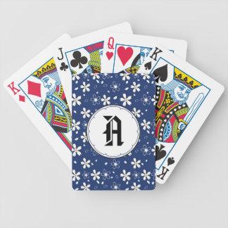 Sakura Flowers Pattern, Blue Playing Cards