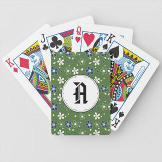 Sakura Flowers Pattern, Green Playing Cards