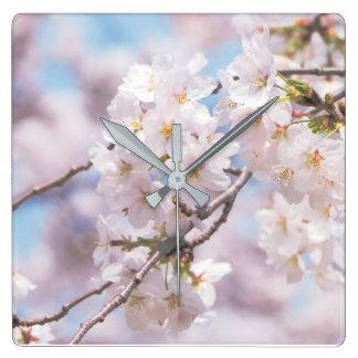 sakura flowes pilow square wall clock