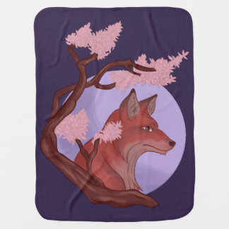 Sakura Fox Baby Blanket