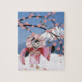 Sakura Geisha Bird in the Snow Cherry Blossoms Jigsaw Puzzle
