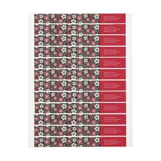 Sakura Japanese Design Wraparound Return Address Wrap Around Label
