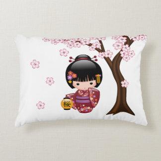 Sakura Kokeshi Doll - Cute Japanese Geisha Girl Decorative Cushion
