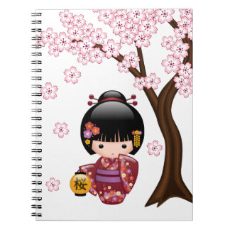Sakura Kokeshi Doll - Cute Japanese Geisha Girl Notebooks