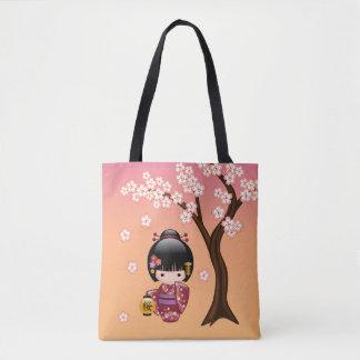 Sakura Kokeshi Doll - Cute Japanese Geisha Girl Tote Bag